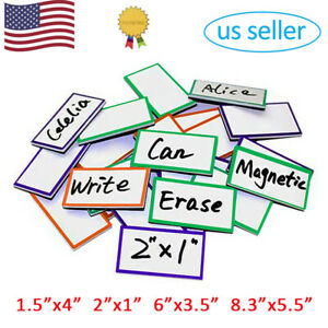 Magnetic Dry Erase Labels Name Plates Tags White Board Writable Magnet Stickers