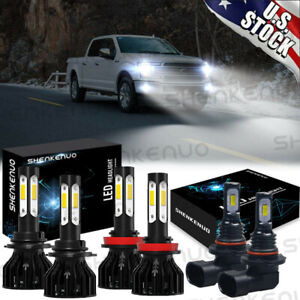 For Ford F 150 2015 2020 Front Led Headlight High low Beam fog Light Bulbs 6000k