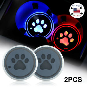 2pcs Led Car Cup Holder Pad Mat For Jeep honda Auto Atmosphere Lights Colorful