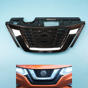 Fit For 17 19 Nissan Rogue Front Bumper Grille Grill Chrome Black 62310 6fv0a
