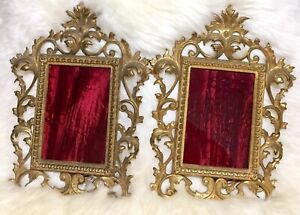 Vintage Matching Pair Ornate Victorian Brass Easel Back Frames For 4 X6 Photos