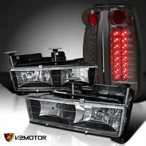 For 1988 1998 Chevy Gmc C K C10 Truck Black Headlights Smoke Led Tail Lamps