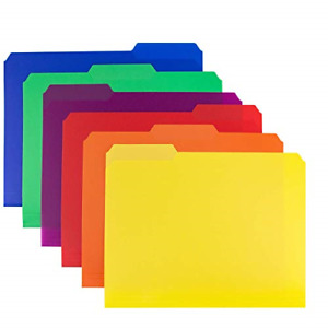 Dunwell Colored Plastic 3 tab File Folders 6 Pack Assorted Colors Letter Size