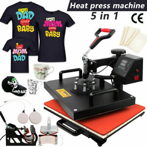 5 In 1 Mug Cap T shirt Heat Press Machine Sublimation Printing Transfer 15 x11