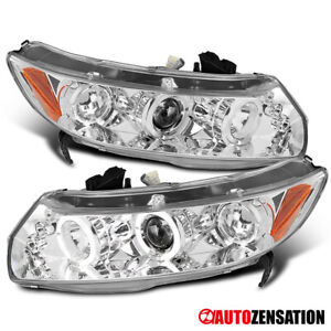 For 2006 2011 Honda Civic 2dr Clear Led Dual Halo Rims Projector Headlights Pair