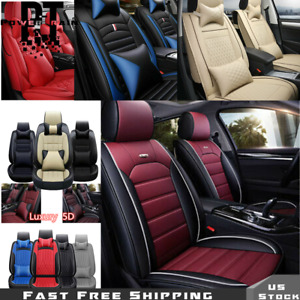 5 Seats Universal Fit Car Seat Covers Deluxe Pu Leather Full Set W Pillow 14pc