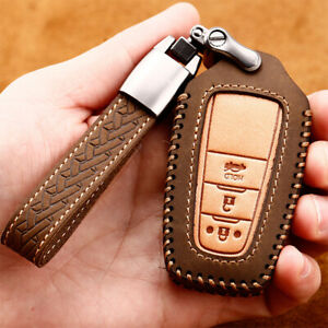 Leather Car Smart Key Fob Case Cover Holder Chainfor Toyota Camry Chr Rav4 Prius