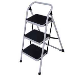 New Practical 3 Step Ladder Folding Non Slip Safety Tread Industrial Home 330lbs