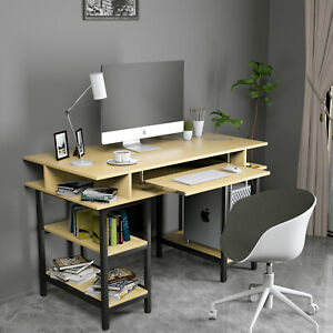 Computer Desk Laptop Table Workstation Study Home Office Furniture Wood Yellow