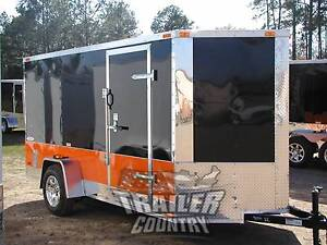 New 2021 6x12 6 X 12 V Nose Enclosed Motorcycle Bike Cargo Trailer Harley Color