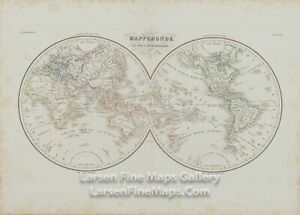 1833 Antique Map Of The World In Two Hemispheres Mappemonde