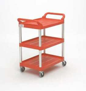 Rubbermaid Fg342488red Plastic Dual handle Utility Cart With Lipped Plastic
