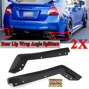 Rear Bumper Lip Splitters Wrap Canards Spoiler For Subaru Impreza Wrx Sti 15 19