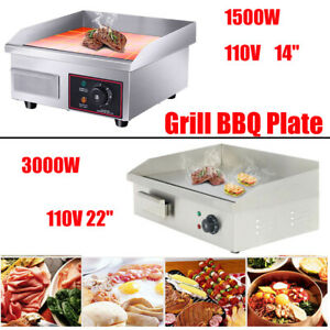 1500w 3000w Commercial Electric Griddle Flat Top Grill Hot Plate Bbq Countertop