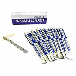 Disposable Scalpel Blades No 22 With Plastic Handle Suitable For Dermaplaning