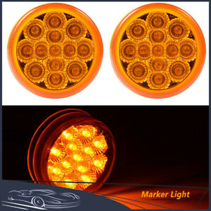 Pair Amber Round 2 5 Inch Side Marker Light Truck Trailer Clearance Lamp 13 Led