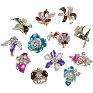 Ipink 12 Pcs Wholesale Lots Brooches Flower Floriated Pins Mixed Colors Design