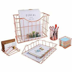 Rose Gold Office Supplies 5 In 1 Desk Organizer Set Hanging File Organizer