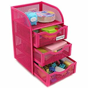Easypag Mesh Desk Accessorie Organizer 3 Drawer Office Supplies Caddy Pink Home
