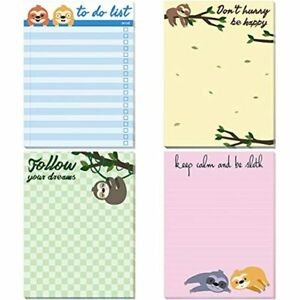Sloth Memo Pads 4 Pack Funny Animal Notepads For Office Home Gifts School Supply
