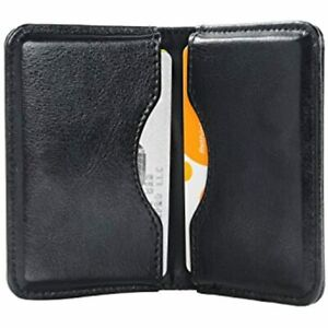 Business Card Holder 2 sided Pu Leather Folio Name Wallet Case With Magnetic