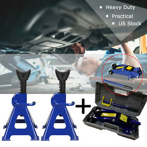 2 3ton Low Profile Floor Jack Stand Combo Car Truck Lift Shop Hydraulic Trolley