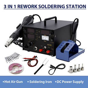 3in1 Professional Oldering Iron Hot Air Gun Smd Power Supply Solder Kit Station