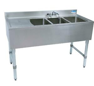 Bk Resources 3 Compartment 48 Wide Underbar Sink With Left Drainboard