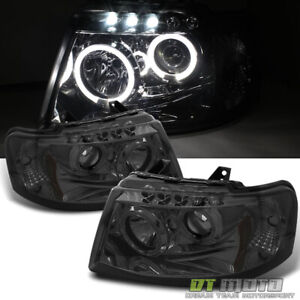Smoked 2003 2006 Ford Expedition Led Halo Projector Headlights 03 06 Left right