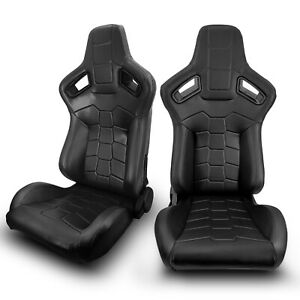 2 X Universal Jdm Black Pvc Main Leather Left Right Racing Bucket Seats