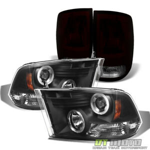 2010 2018 Dodge Ram 1500 2500 3500 Blk Led Halo Headlights Tail Lights Lamps Set