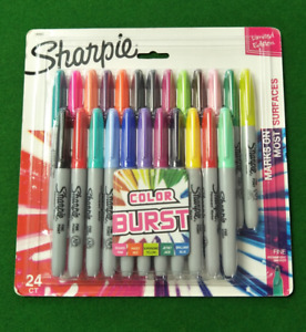 Sharpie Color Burst Permanent Markers 24 Counts Assorted Colors Fine Point