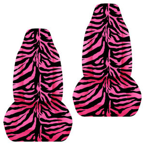 Universal Size Front Set Car Seat Covers Zebra Black And Pink