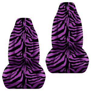 Universal Size Front Set Car Seat Covers Zebra Black And Purple