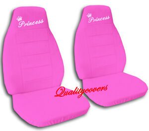 Universal Size Front Set Car Seat Covers Hot Pink With Sweet Pink Princess