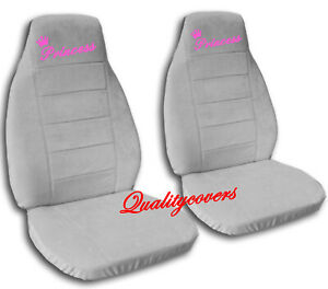 Universal Size Front Set Car Seat Covers Silver With Hot Pink Princess Design