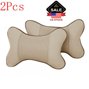2pc Auto Car Seat Headrest Pad Memory Foam Pillow Head Neck Rest Support Cushion