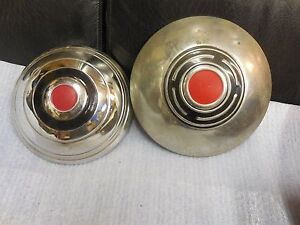 2 Different Aftermarkermarket Packard Dodge Stainless Dog Dish Hubcaps New