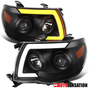 For 2005 2011 Tacoma Switchbackl Led Drl Seq Signal Black Projector Headlights