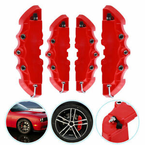 4pcs 3d Red Style Car Universal Disc Brake Caliper Covers Front Rear Universal