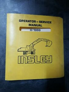 Badger Construction Equipment Co Insley H 1000 Service Manual
