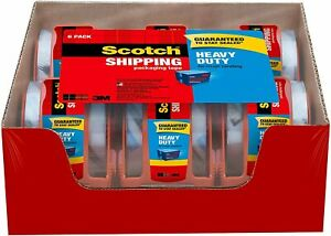 Heavy Duty Scotch Clear Tape For Packing Shipping 6 Rolls With Dispensers