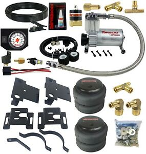 Air Helper Spring Load Level Kit W white Gauge Fits 2001 2010 Chevy 3500 Truck