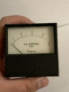 Vintage Simpson Electric Ac Amperes Panel Meter Gauge Amp Gauge 0 5 Amps