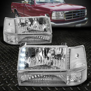 For 92 96 Ford F150 F250 F350 Chrome clear Corner Led Drl Headlight Bumper Lamps