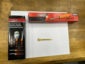 Snap on Tools New Orange Ratcheting Magnetic Screwdriver And Pumpkin Carving Kit