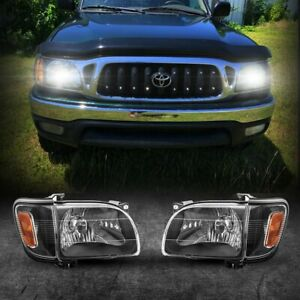 Pair Headlights Assembly Left Right Clear Lens For Toyota Tacoma 2001 2004