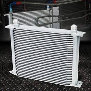 30 Row 10an Powder Coated Aluminum Engine Transmission Racing Oil Cooler Silver