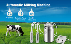 7l Milking Machine Upgraded Double Hole Automatically Vacuum Pulse Pump