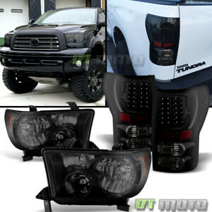 For Black Smoked 2007 2013 Toyota Tundra Headlights Led Tail Brake Lamps Lights